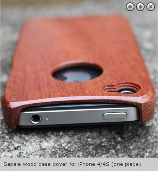 Buy Fashion Sapele one piece Wood case cover iPhone 4 4S