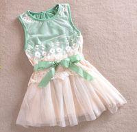 Wholesale Lowest Price summer girls lace dress with belt baby vest dresses girls ruffle dress girls tutu dress skirt Children s Dresses T melee
