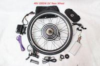 Road Bikes bike motor kit - 48V W Motor Electric Bike Conversion Kit inch Rear Wheel V AH Black Flat Aluminum Case Battery