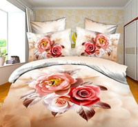 Adult Twill 100% Polyester Wholesale beige floral roses hot sale new 4pc cheapest bedding set duvet cover 3d print bed sheet queen size bed sets bed linens