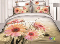Adult Twill 100% Cotton Pink Sunflower fashion queen size 3d flat sheet+duvet cover+pillowcases,quilt cover with zipper, bedding collection bed linens
