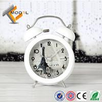 Quartz Analog Alarm Clocks  Creativiy Eiffel Tower Picture Metal Ringing Bell Alarm Clock Fashion Desktop Clock Free Shipping