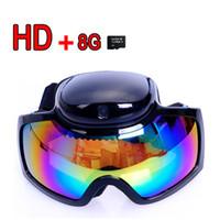 <50''   Free shipping HD 720p Ski Sport glasses video camera Goggles Sunglasses DVR cam + 8GB TF Card 901743-CES-00129