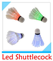 Wholesale DHL Dark Night Colorful LED Badminton Shuttlecock Birdie Lighting Goose Feather Outdoor LED Badminton Shuttlecock
