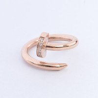 Wholesale Fashion hot brand Nail Finger Ring punk L stainless steel silver rose gold crystal CZ stones titanium nail Ring jewelry for men women