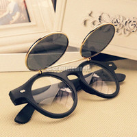Wholesale 10pcs Retro Vintage s Steampunk Glasses Flip Up Round Cyber Sunglasses Goggles GX14