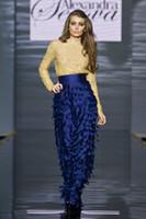 alexander gray - 2014 Lace Long Sleeves Sheer Evening Gowns Floor length Alexander Serova Evening Dress Sweep Train