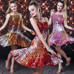 Wholesale Actual Pictures New Arrival Spaghetti Straps Sequined A line Ruffles Fashion Short Stage Wear Dresses in Multi Colors