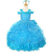 Wholesale Bling Bling Crystal Bead Sequin Light Blue Little Girl s Pageant Dresses Handmade Flower Beautiful glower Girl Dress Girl Christmas Gowns