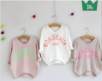 Girl Spring / Autumn Standard 2014 New Girls Personality loose cotton t-shirts fashion Korean children casual letter Tshirt Children's tops kids clothes