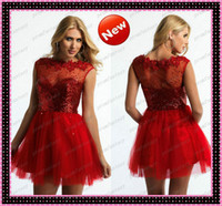 Hot Red Tulle Short Sequined Homecoming Prom Dresses 2014 Sh...