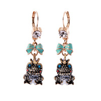 Wholesale European and American style retro girls earrings jewelry diamond inlaid Czech eternal love frog earrings