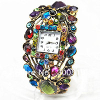 Wholesale JW007 Fashion Peacock Style Retro Colored Stones Bronze Wrist Watch Bracelet Watch