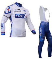 Wholesale 2014 new FDJ bicycle sports clothing styles Riding Shirts outdoor long Sleeve Cycling jersey