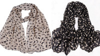 Wholesale Women Wraps Scarves Fashion Soft Chiffon Velvet Cute Kitten Graffiti Winter Warm DGH
