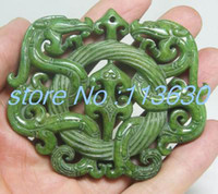 Wholesale fine OLD HANDWORK GREEN JADE CARVED DRAGON PENDANT