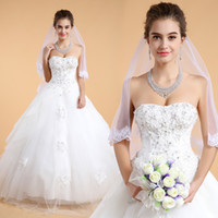 Wholesale In Stock Real Samples Strapless Scoop Embroidery Lace Appliques Floral Crystal Beaded Lace Up A line Tulle Wedding Dresses