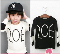 Wholesale High Quality Guangdog Child Clothes Pure Cotton Long Sleeve Baby Boy Cool T Shirts Black White Letter Kids Tshirt Children Topwear QZ44