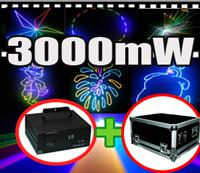 Wholesale 3000mW w PT20K pps RGB full color Animation LOGO DMX512 ILDA DJ Party Disco Club Bar Christmas party lights Stage Lighting and Flightcase