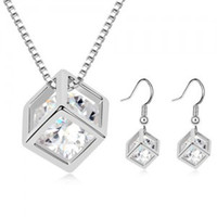 Wholesale JS C001 Silver Plated Bliss Cube Jewelry Sets Austia Crystal Earrings amp Necklace Sets High Quality With Best Price
