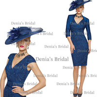black cap - 2014 Veni Infantino Beads Navy Blue V neck Capped Sleeves Knee Length Soft Stain Mother Of The Bride Dresses With Jackets Dhyz