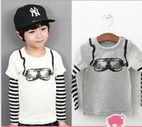 Unisex Spring / Autumn Standard High Quality Guangdog Kids Clothes %100 Pure Cotton Ski Glasses Baby Boy Cool T Shirts Stripe Kids Tshirt Children Top Shirt QZ449