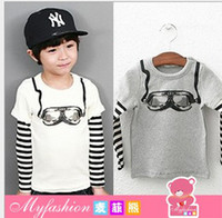 Wholesale Free EMS DHL Kids Clothes Pure Cotton Ski Glasses Child Boy Cool T Shirts Stripe Kids Tshirt Children Top Shirt QZ449