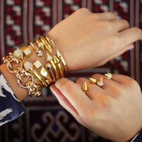 Wholesale 2015 new crystal with diamond gold silver jewelry fashion Vita Fede bracelets bangles sets gemstone Accessories Birthday Gift Ring
