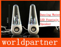 Wholesale Dancing Water Speaker Active Mini USB LED Light Fountain Music Player Subwoofer for Iphone S C S Samsung Mobile Phone Computer MP3 MP4