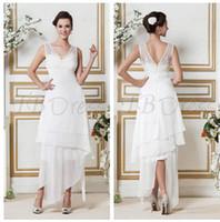 A-Line Model Pictures V-Neck 2014 Amazing White Chiffon Sheath Column V-neck Asymmetry Sheer Zipper Sandra's Short Beach Wedding Dress Bridesmaid Dresses