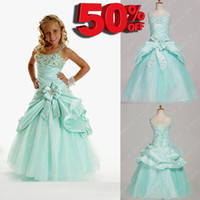Wholesale Cheap Off Girls Pageant Dresses A line Spaghetti Straps Floor Length Mint Taffeta Tulle Flower Girl Dresses Girls Party Gowns
