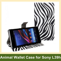 achat en gros de cas d'impression de zèbre-Housse flip gros luxe Zebra Leopard Imprimer PU cuir Wallet LIVRAISON Sony Xperia Z1 L39h gratuit