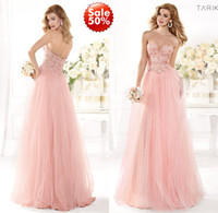 Wholesale Tarik Ediz Spring Summer Evening Gown Formal Prom Dresses With Sweet heart Sheer Low Cut Back Long A Line Pink Beads Lace Tulle