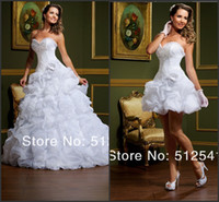 Wholesale vestido de novia Wedding Dresses Sexy Sweetheart Beads Applique A Line Bridal Gowns With Deachable Train And Ruffles