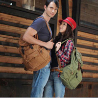 Duffel Bags leather duffel bags - S5Q Men s Canvas Travel Backpack Military Hiking Bag Vintage Leather Messenger Tote Bag AAACVC