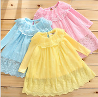 TuTu Spring / Autumn A-Line Spring New Arrival Sweet Delica Lace Net Yarn Baby Girl Princess Dress Top Shirt 1-4Year Kid's Dress T Shirt 3 Colour 80-110 QZ451