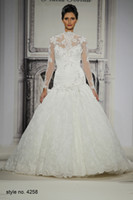 Wholesale 2014 pnina tornai sexy high collar long sleeve backless full lace lace up back sequins floral ruffle mermaid style Wedding Dress Bridal Gown