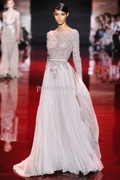 Wholesale Discount New Arrival Elie Saab Bateau Sheer Neckline Appliqued Evening Dresses Floor Length See Through Long Sleeve Prom Dresses E1631