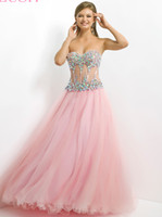 Reference Images Sweetheart Tulle 2014 Beautiful Colorful Rhinestone Sweetheart Neck Sheer Midriff Corset Boning Bodice A Line Floor Length Customized Tulle Pink Prom Dress