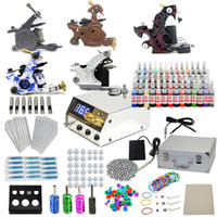 5 Guns Beginner Kit brand new USA Dispatch Beginner cheap tattoo starter kits 5 guns machines 54 ink sets equipment LCD power Needles tips supply GBL-WS-K202B