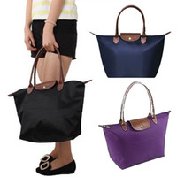 Wholesale S5Q New Synthetic Leather Handle Tote Shopping Bag Nylon WaterProof Colorful Handbag AAACVT