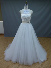 Wholesale Real Pictures Sexy Strapless Ball Gown White Organza Wedding Dresses Beaded Backless Sweep Train ker987