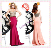 Wholesale 2014 Prom Dresses Newest Sheath Spaghetti Strap Sweep Train Diamond Beaded Satin Pageant Dresses Evening Gowns Glamorous B199