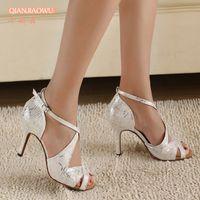 Wholesale New Ladies White Salsa Latin Ballroom Rumba Dancing Shoes Size