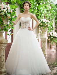 Wholesale New Arrival Succinct Graceful Size Available Sweetheart Crystal Pearls Ball Gown Net Floor Length Wedding Dress