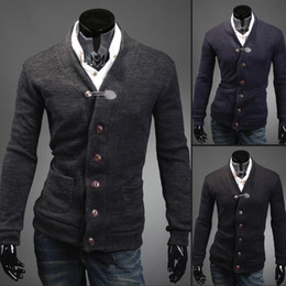 Wholesale Top Korea Men s slim v neck Cardigan AP Fashion Clothes colors Men cheap clothing HM666566