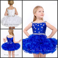 Wholesale White Blue Lively Princess Formal Dresses Gowns Sequins Beading Short Flower Girls Dresses Gown Organza Mini Ball Gown Dresses