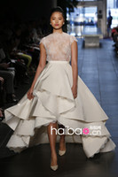 Wholesale 2014 New Rivini High Collar Ball Gowns Ivory Satin Lace Wedding Dresses With Short Sleeve For Bridal Gowns