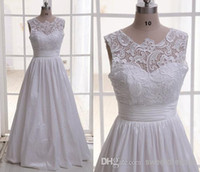 A-Line Reference Images Jewel Custom Made Real Model 2014 Sheer Lace Wedding Dress Crew Neckline White Lace Taffeta Floor Length Bridal Wedding Dress Gown
