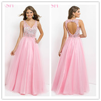 Reference Images V-Neck Tulle 2014 Enchanting Beaded Rhinestone V Neckline Corset Bodice Sexy Open Back Sleeveless A Line Floor Length Customized Tulle Pink Prom Dress